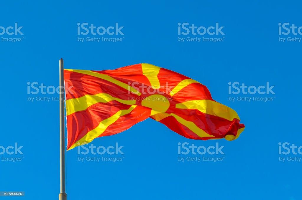 Macedonian Flag waving stock photo