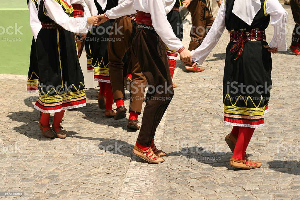 Macedonian traditional folkloristic group stock photo