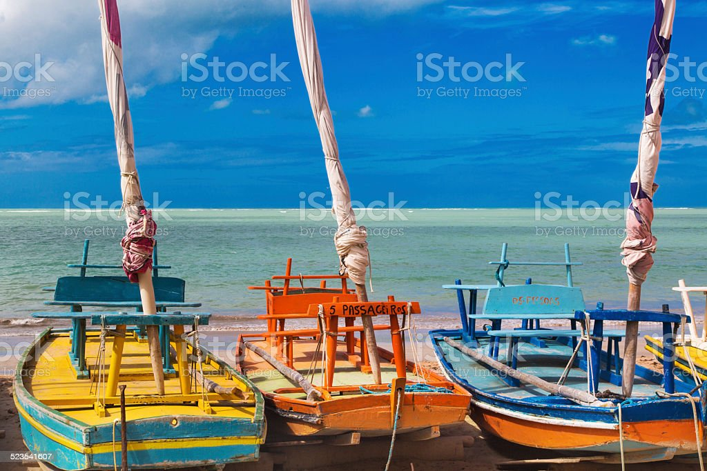 Maceio beach, northeast Brazil - jangadas stock photo