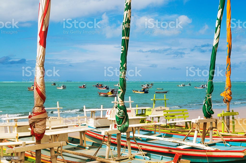 Maceio beach, northeast Brazil - sailing rafts stock photo