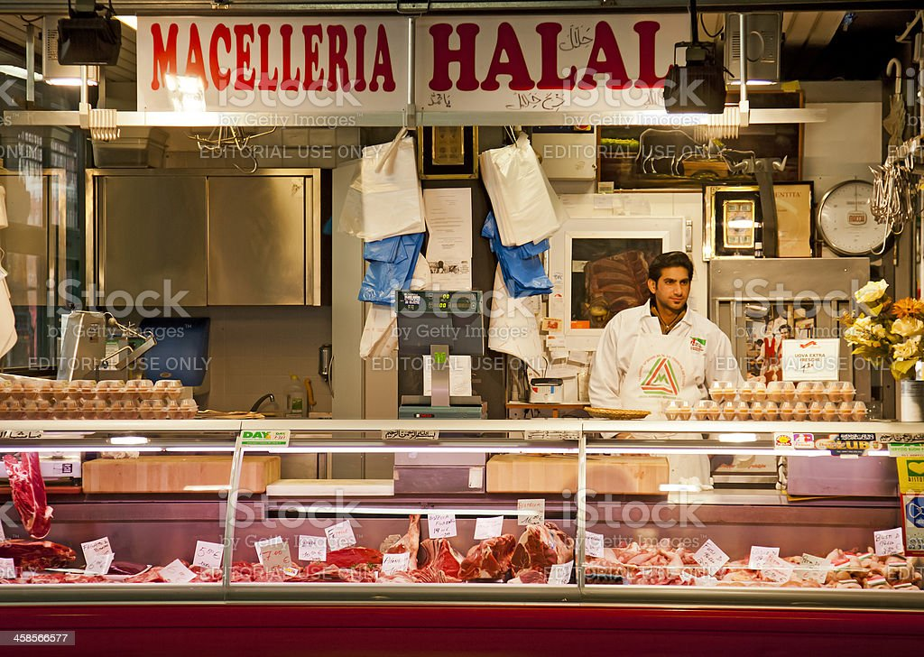 Macelleria Halal butcher stall, mercato centrale, Florence royalty-free stock photo