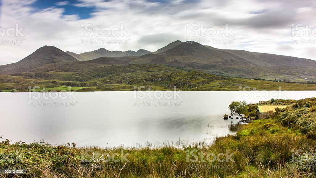 Macgillycuddy's Reeks and Lough Acoose stock photo