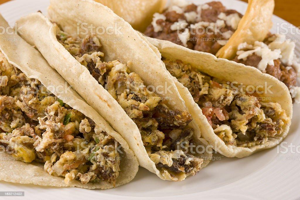 Machacado con Huevo Tacos royalty-free stock photo