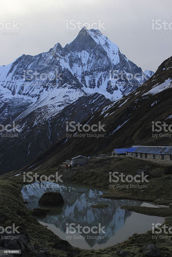 Machapuchare and Reflection stock photo