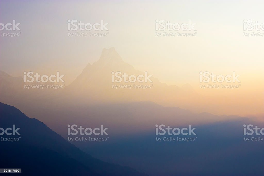 Machapuchare at dawn stock photo