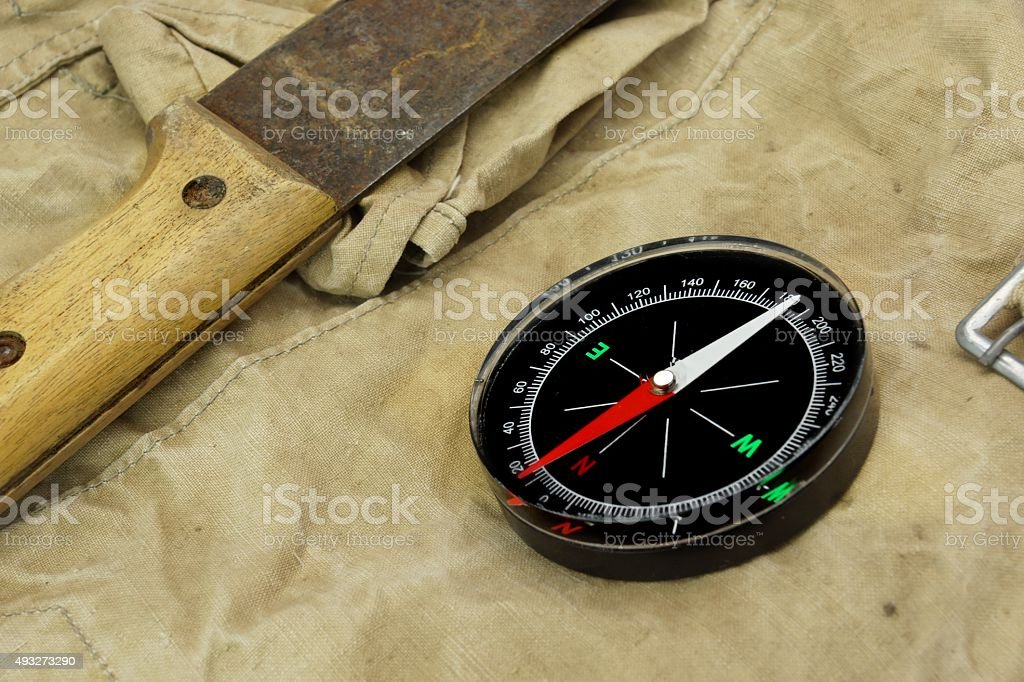 Machete And Magnetic Compass On The Weathered Backpack stock photo