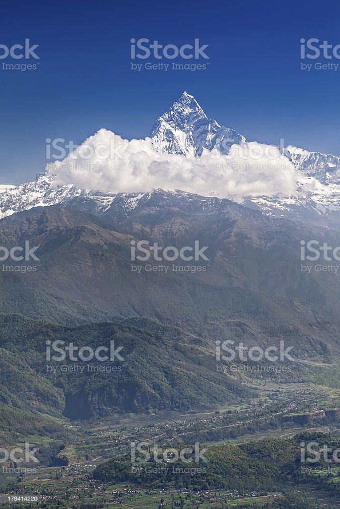Machhapuchhre and Annapurna mountains royalty-free stock photo