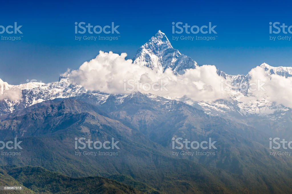 Machhapuchhre and Annapurna mountains stock photo