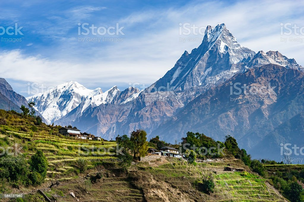Machhapuchhre and Terraced Fields, Nepal stock photo