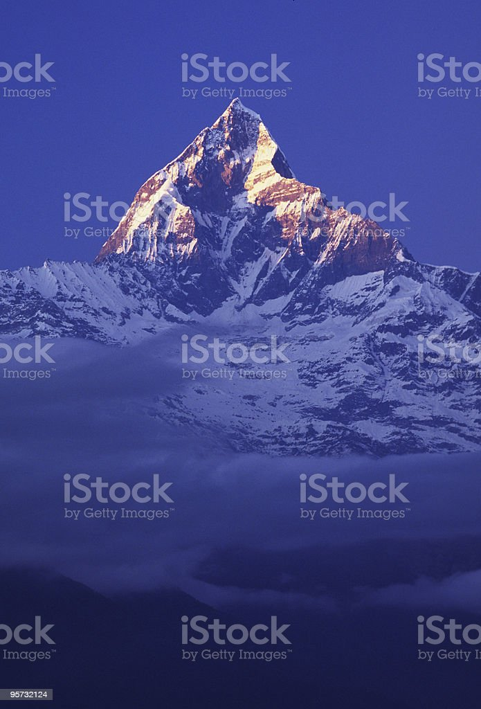 Machhapuchre (Fishtail) Mountain in the Annapurna Himalaya Range stock photo