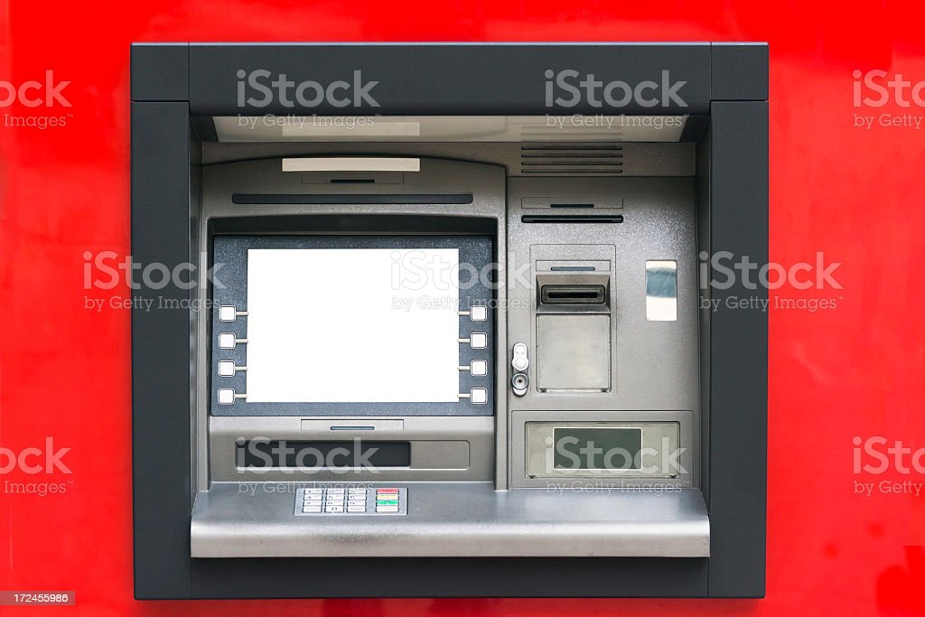 ATM machine against red background, with white content area royalty-free stock photo