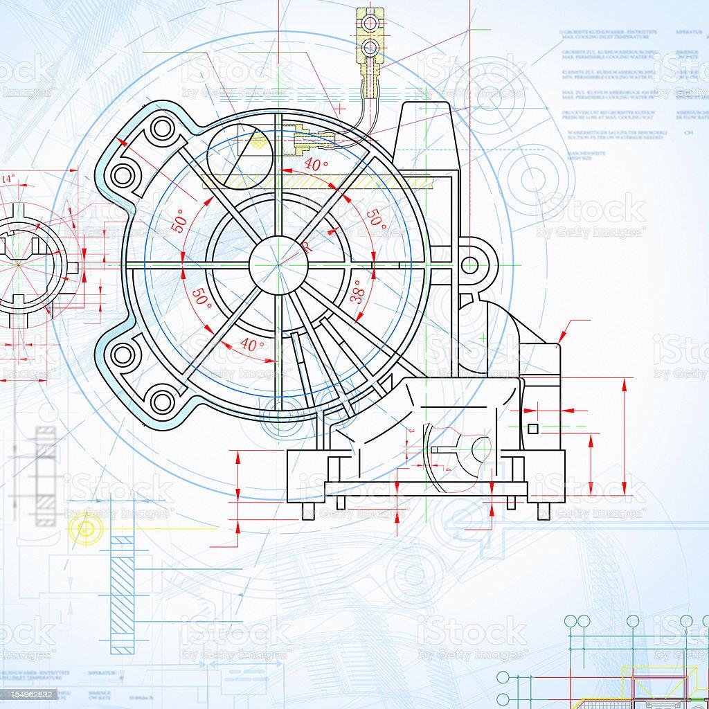Machine Blueprint Outline Design Paperwork Document stock photo