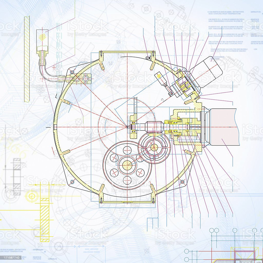 Machine Blueprint-Industry Equipment Design stock photo