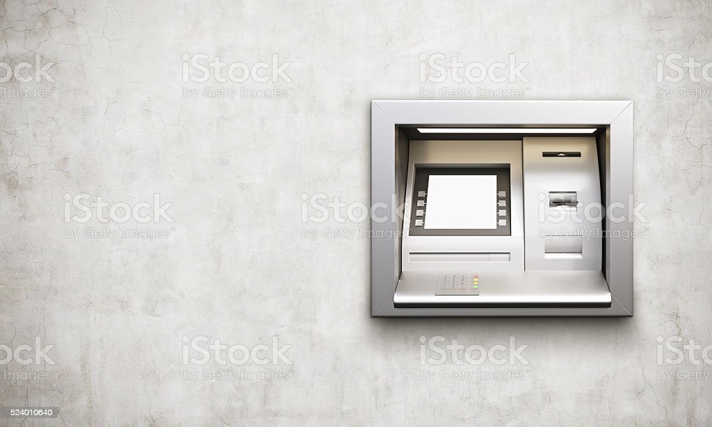 ATM machine concrete background stock photo