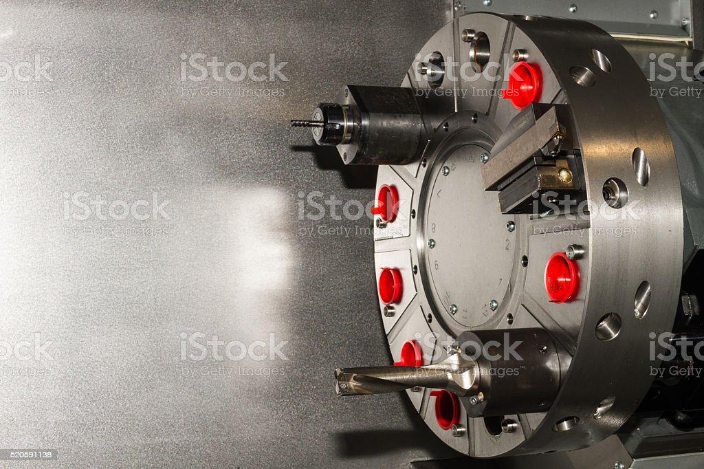 Machine equipment / tools on CNC machine stock photo