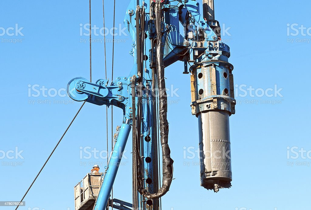 Machine for drilling columns to line pit of tunnel borer royalty-free stock photo