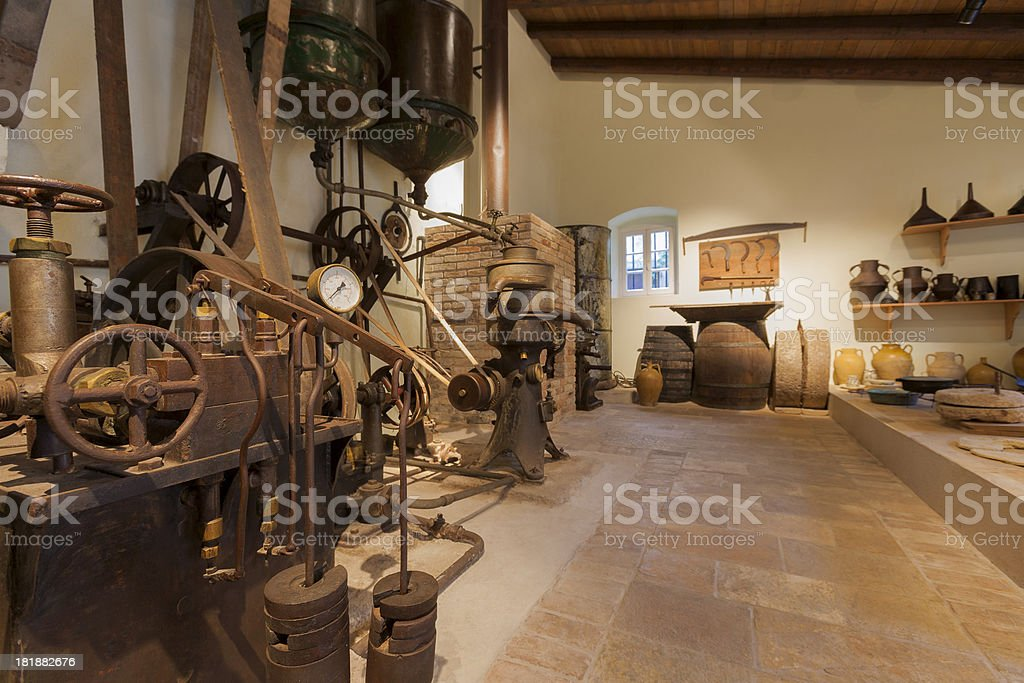 Machine for earning olive oil stock photo