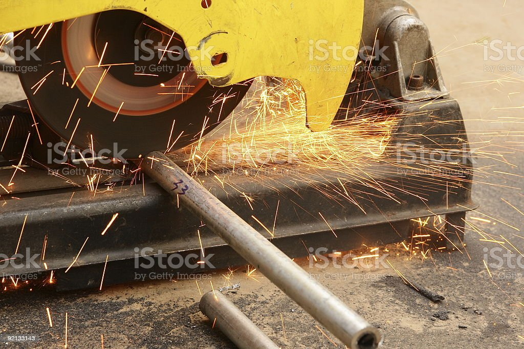 machine for grinding steel and sparks royalty-free stock photo