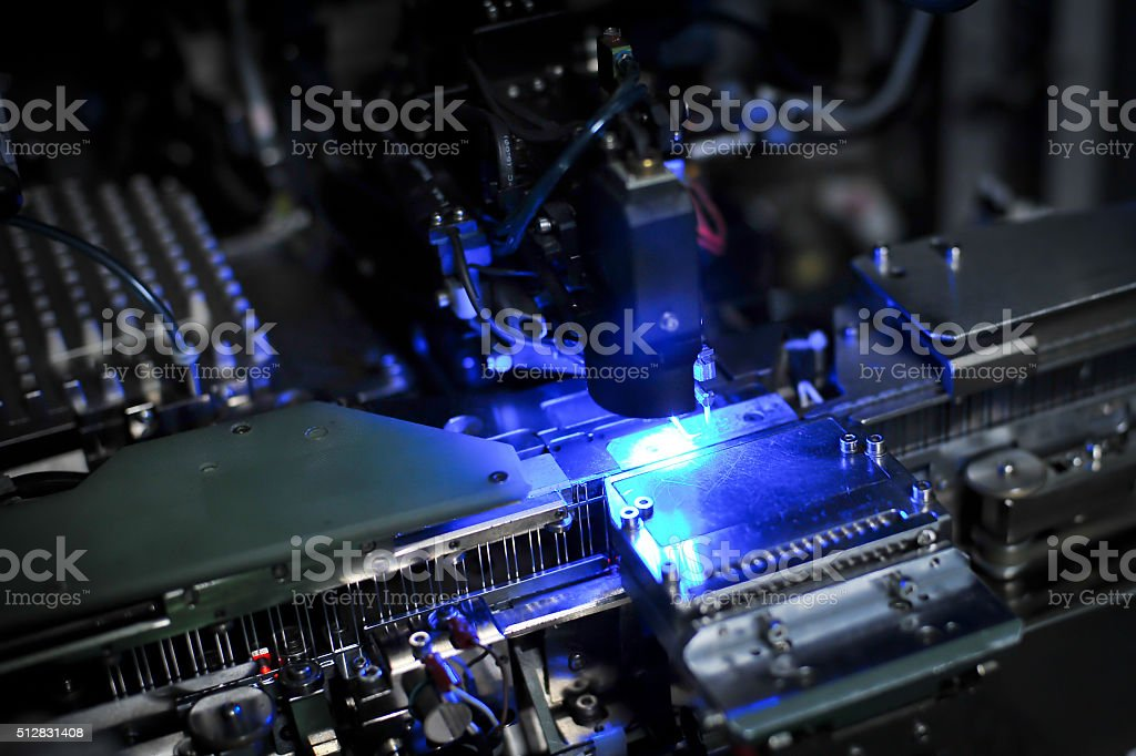 Machine for production of light-emitting diodes (LED) stock photo