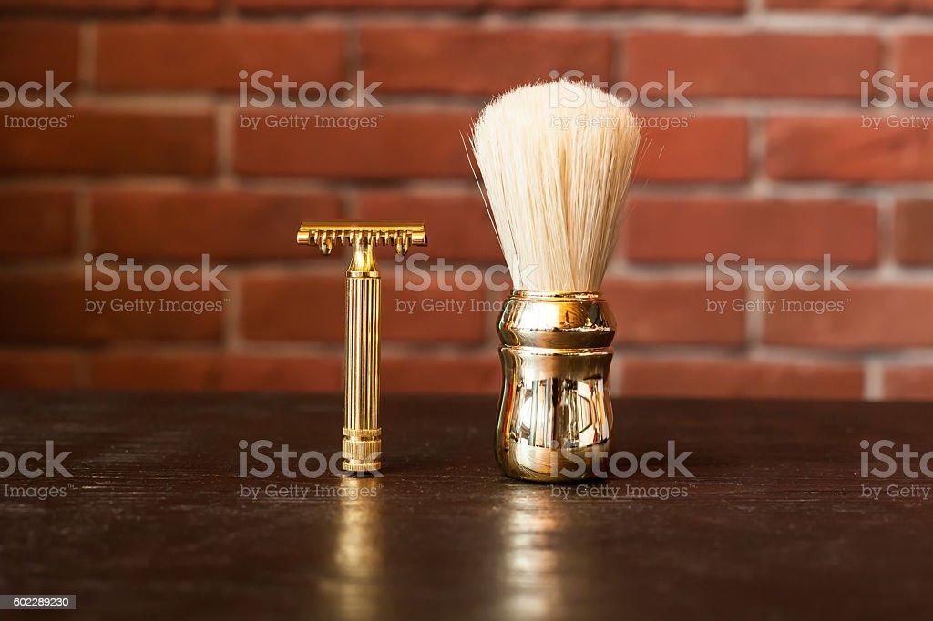 Machine for shaving and brush stock photo