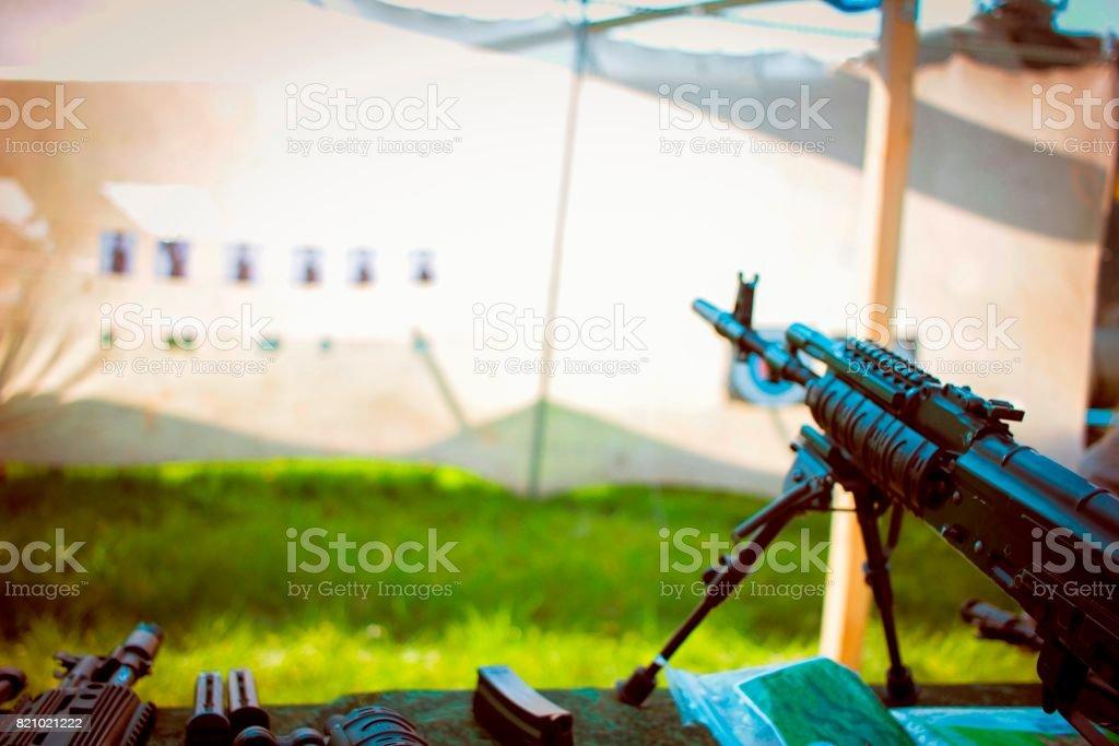Machine gun aiming to the target stock photo