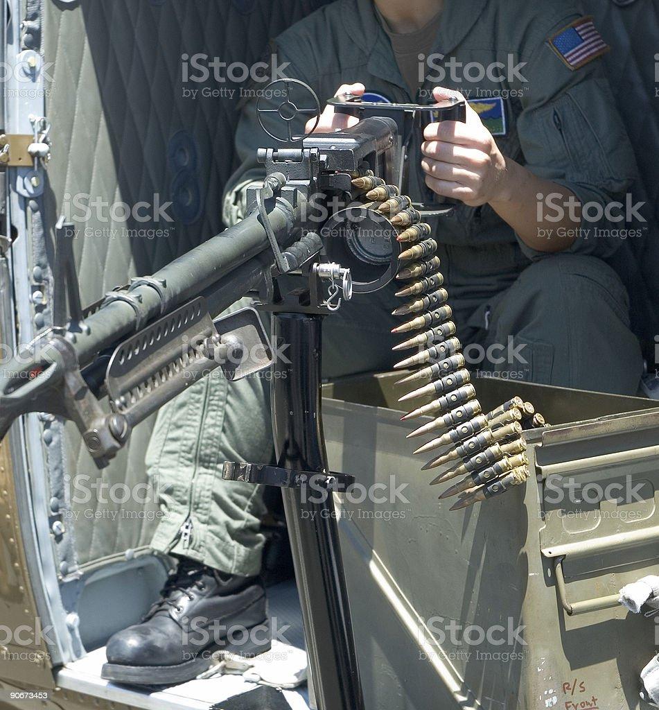 Machine gun and bullets stock photo