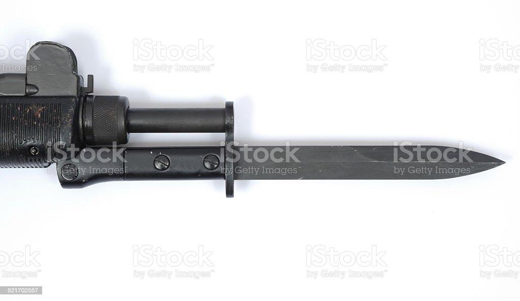 UZI SMG machine gun bayonet stock photo
