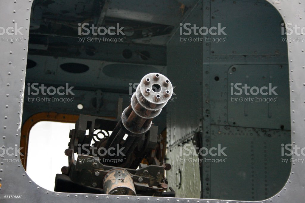 Machine Gun from a Helicopter stock photo