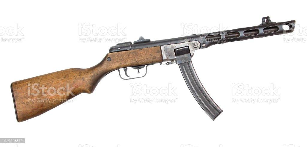 machine gun isolated on white stock photo
