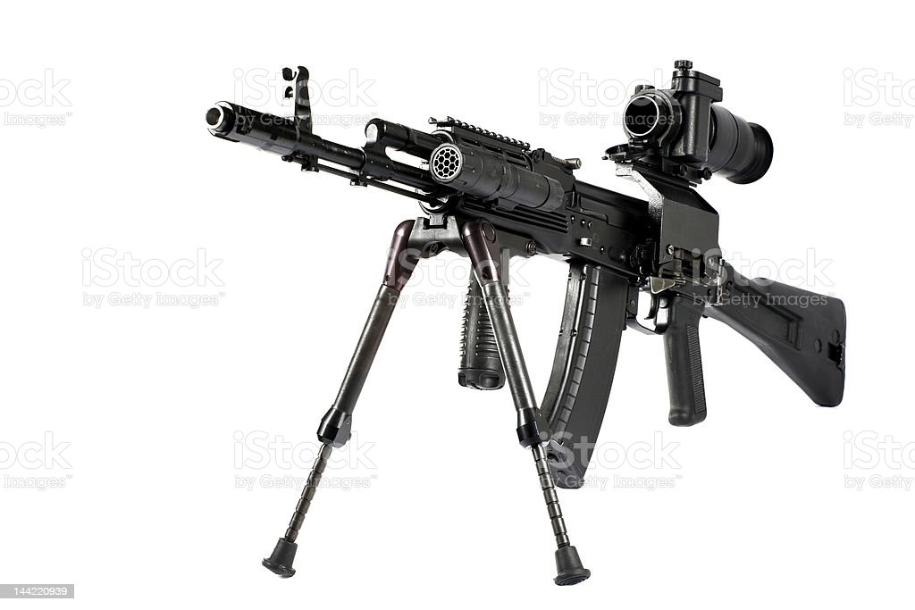 Machine gun Kalashnikov on the tripod and optical sight royalty-free stock photo