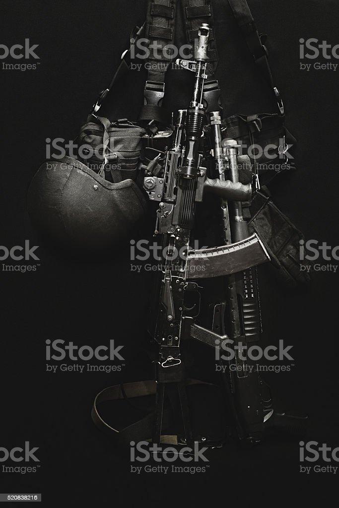 machine gun , military helmet and ammunitions stock photo