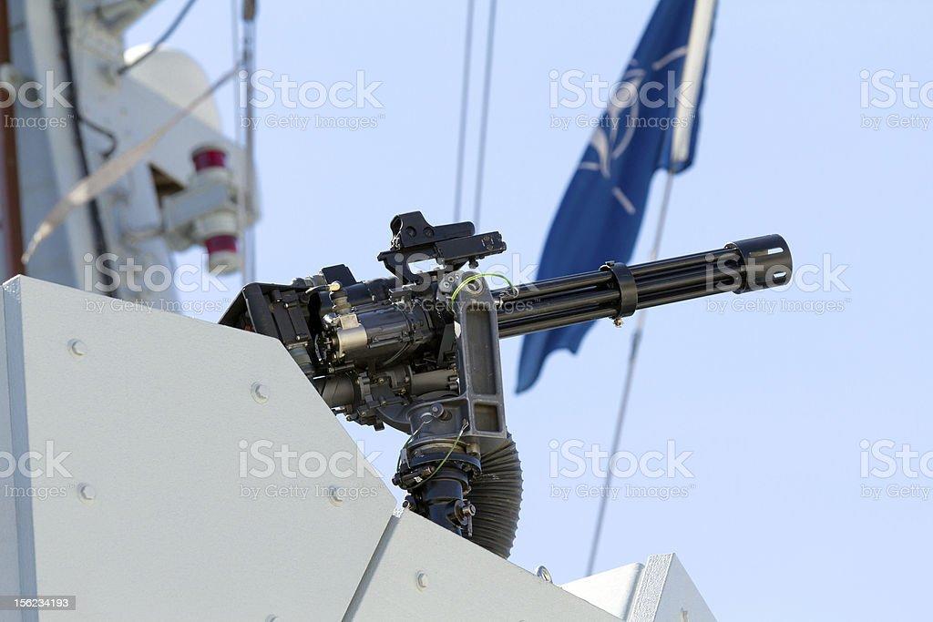 Machine gun on a ship royalty-free stock photo