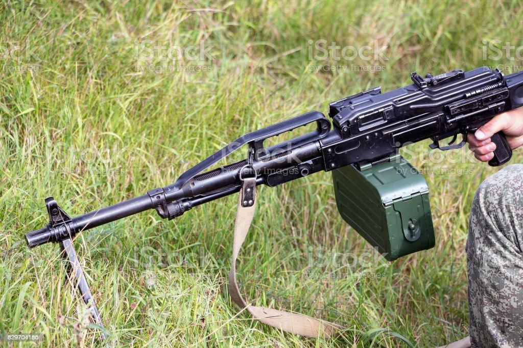 Machine gun Pecheneg stock photo
