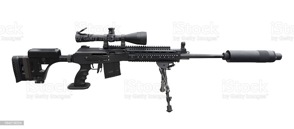 Machine gun with optical sigh on the tripod stock photo