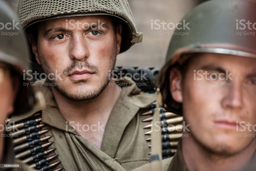 WWII Machine Gunner Portrait stock photo