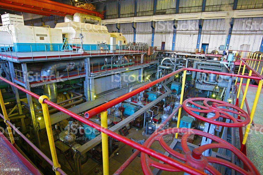 machine hall of power plant stock photo
