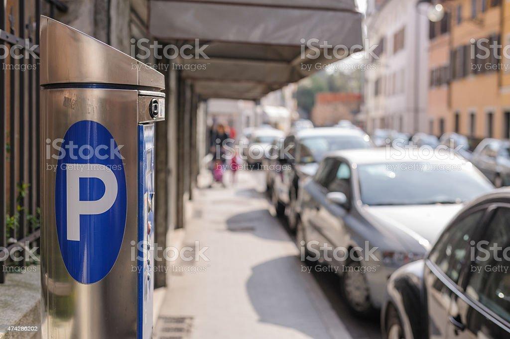 Machine parking,automatic ticket machine.Italy stock photo