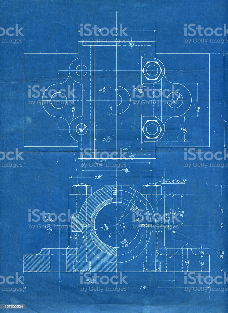 machine part blueprint stock photo