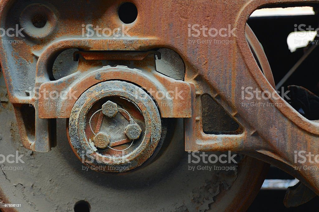 Machine part : wheel of  carriage royalty-free stock photo