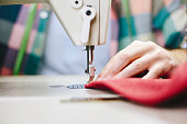Machine sewing close up