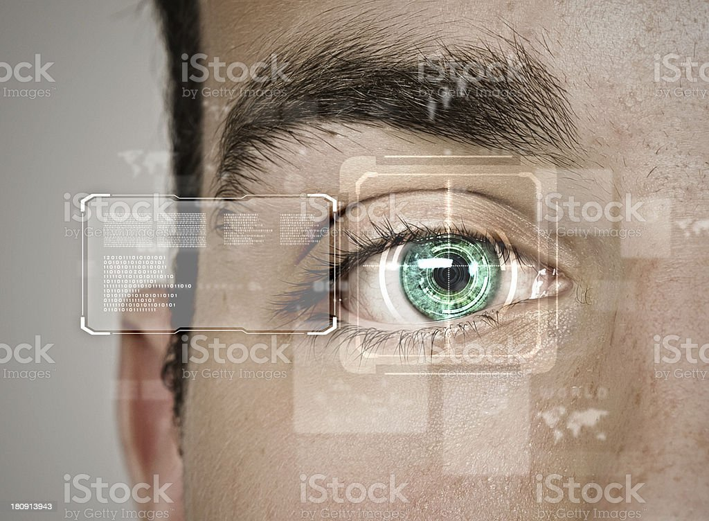 A machine used to identify a person through their eye  stock photo