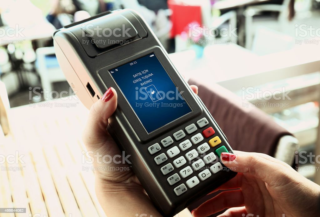 POS machine with a red lacquer stock photo
