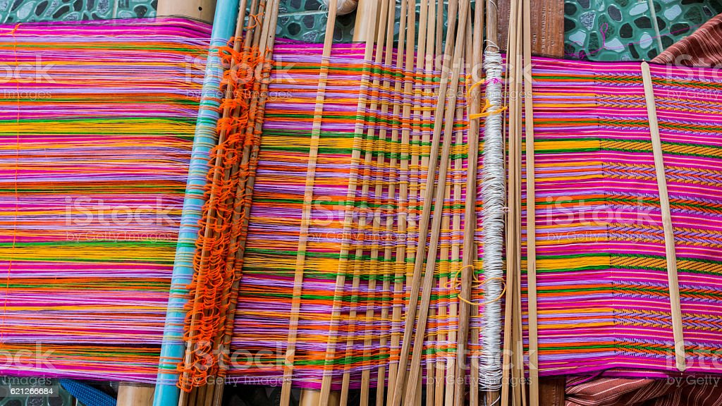 Machine woven silk Old-style thailand. stock photo