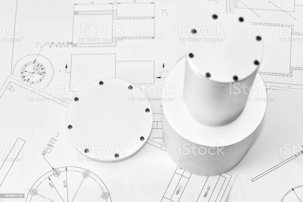 Machined Part and its drawings stock photo