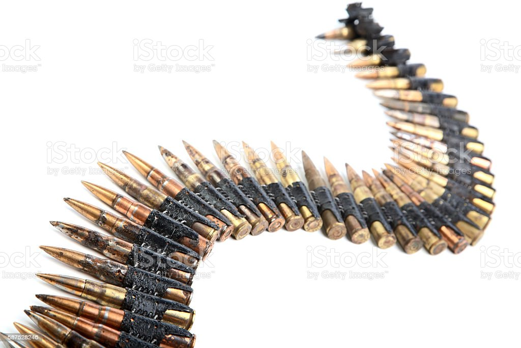 Machine-gun tape with cartridges of times  Second World War stock photo