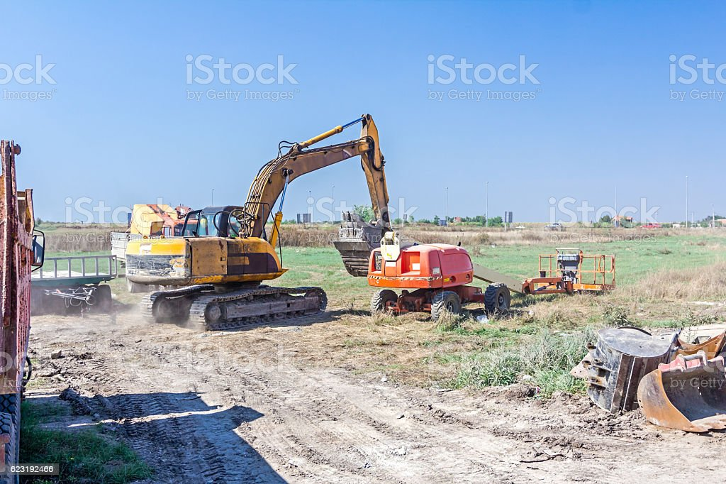 Machinery are parked at construction site stock photo