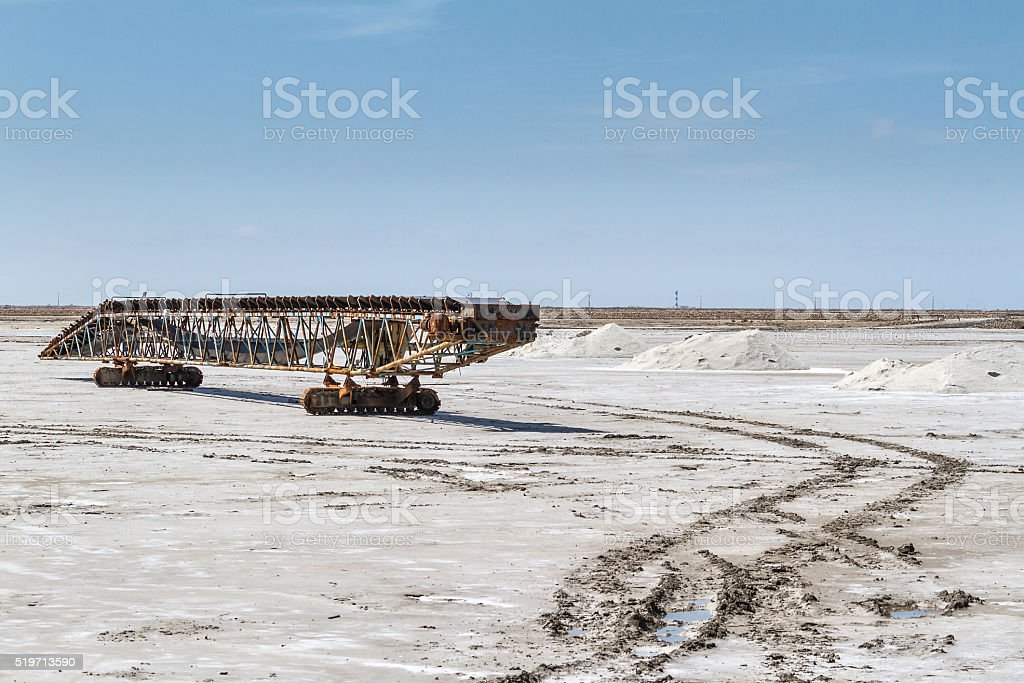 Machinery for Salt production in a salt flats - France stock photo