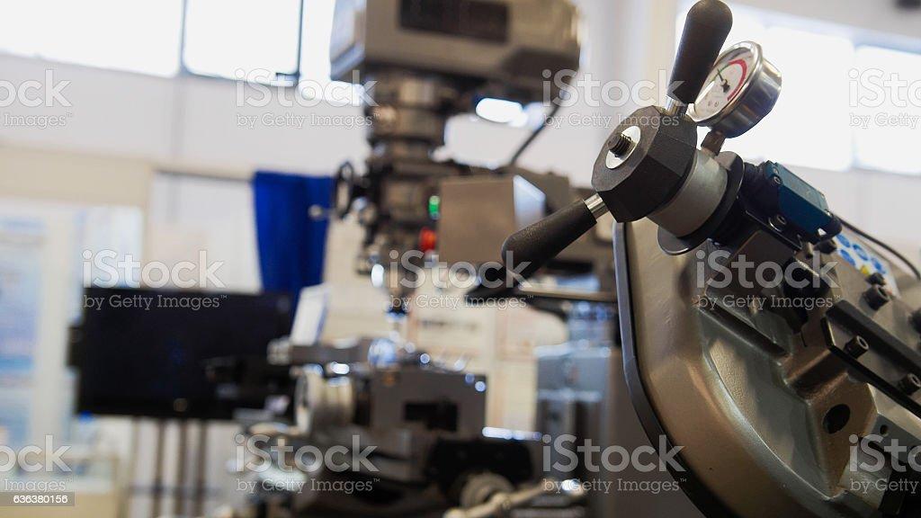 Machinery industry - lathe machine at factory stock photo