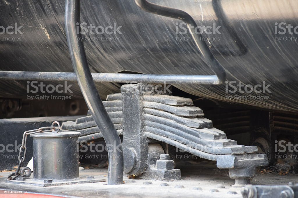 Machinery of the boiler on the old iron steam locomotive stock photo