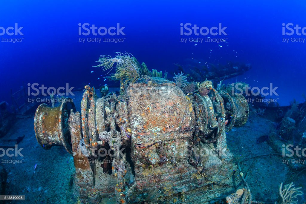 Machinery on an underwater shipwreck stock photo